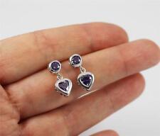 Solid 925 Sterling Silver, Purple Amethyst Heart Stud Drop / Dangle Earrings