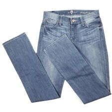 """7 For All Mankind Straight Leg Jeans Size 25 Light Blue Wash 32"""" Inseam"""