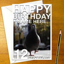 PIGEON Personalised Birthday Card • personalized bird animal pidgeon greeting