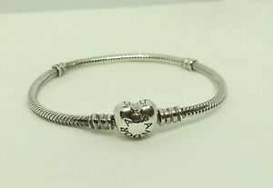 Authentic PANDORA Sterling Silver HEART Clasp BRACELET 7.1 In. #590719