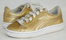PUMA Basket Girls Size 12 C Shoes Gold Sparkle Platform Sneakers