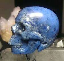 DUMORTIERITE CRYSTAL SKULL! Realistic Mineral Carving Quartz- RICH BLUE COLOR!