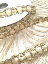 13 yards on a roll - Really elegant looking ecru woven Ribbon with gold edging