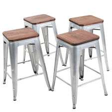 Set of 4 Metal Steel 26'' Bar Stools Counter Stool Wooden Cushion Chair Silver