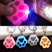4 Colors Cute Cat Paw Key Chain Sound Light LED Flashlight Key Ring Keyfob Gift