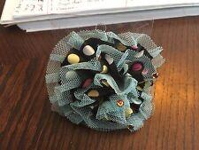 Pretty Fancy Black and Gray Flower Velvette Ponytail Holder New in Package