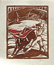 Mabel Fairfax Karl Signed Bullfight Woodcut  Texas/California Artist