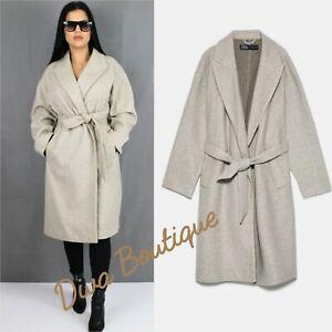 Zara AW 2019/20 Grey Belted Coat Cardigan Size S Free P&P Brand New