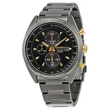 Seiko Men's SNDF91 Chronograph Quartz Black Dial Black Gunmetal Gray Watch
