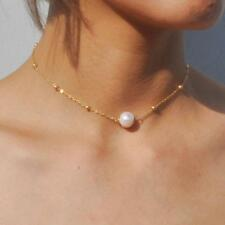 Pearl Choker Necklace Gold Beads Chain Women's Charming Jewelry Gift RT# US410