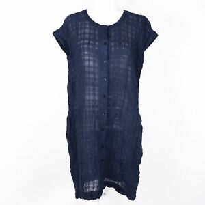 Eileen Fisher Organic Linen/Cotton Blend Sheer Blue Shift Dress - SZ XS/TP