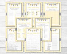 Yellow Chevron Baby Shower Games Pack - 8 Printable Games