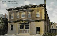 Plymouth Fire Department, Gaylord Avenue, Plymouth PA vintage postcard used 1910