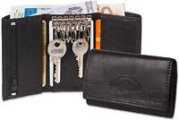 Rimbaldi® Leder Schlüsseltasche & Geldbörse mit 6 Schlüsselhaken in Schwarz