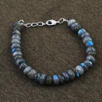 "160.00 Cts Natural 8"" Long Blue Flash Labradorite Round Beads Bracelet (DG)"
