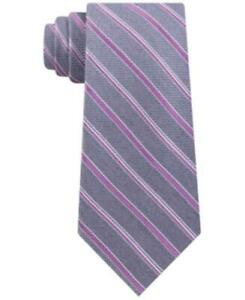 MSRP $69 Michael Kors Men's Satin Asymmetric Weft Stripe Tie Pink One Size