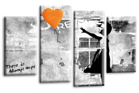Le Reve Banksy Girl With Orange Balloon Canvas Picture Grey White Split Wall Art