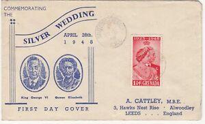 Grenada: Silver Wedding Illustrated FDC; Sauteurs via GPO to Leeds, 27 Oct 1948