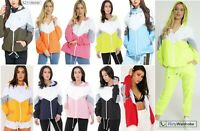 Colour Block Festival Jacket Bomber Contrast Hooded WindBreaker Coat Cute Womens