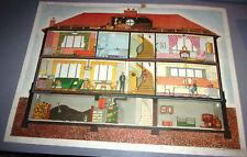 Ancienne affiche ROSSIGNOL 7-8  La maison de Jean en coupe - Le printemps