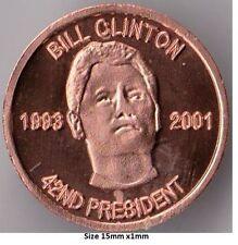 1 Gram 42nd President Bill Clinton Fine copper round .999 Uncirculated coin.
