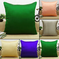 Home Decor Cushion Solid Pattern Decorative Pillow Throw Satin Silk Cover