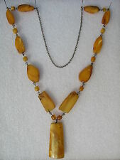 Vintage Russian Latvian Silver Baltic Egg Yolk Amber Pendant Necklace 45,8 gr