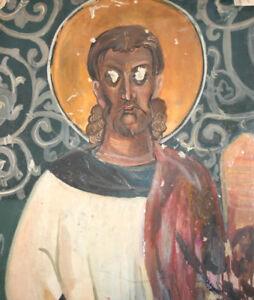 Vintage gouache religious painting fresco
