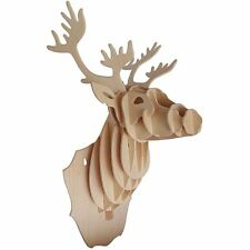 DEER HEAD Woodcraft Construction Kit - Wooden Animal Model Wall 3D Decoration