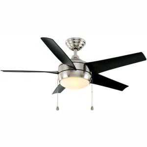 Windward 44 in. LED Brushed Nickel Ceiling Fan with Light Kit