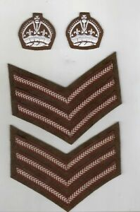 WORLD WAR 2 TYPE BADGE FOR COLOUR STAFF SERGEANT WORN ON BATTLE DRESS UNPADDED