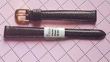 BRACELET MONTRE CUIR DE VACHETTE GRAINÉE MARRON FONCÉ 12mm FLEURUS /* REF.FH80