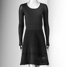 NWT Simply Vera Wang Pointelle Fit & Flare Black Sweater Dress Size Large $88