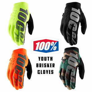 100% Youth Kids Brisker Gloves Cold Weather Thermal Motocross MX MTB Gloves