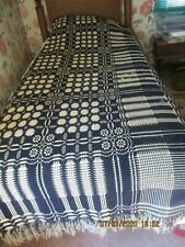 """Antique Handwoven Coverlet Primitive Wool And Linen Section 84""""x 38"""""""