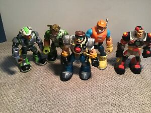 Lot of 5 Mattel Fisher Price RESCUE HEROES Action Figures Toys 2001-2002