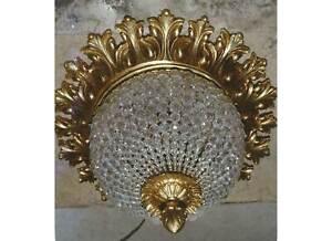 Vintage Crystal Chains Flush Mount Ceiling Chandelier Antique Replica Light