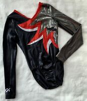 GK ELITE Gymnastics LEOTARD Red SILVER Black WHITE Competition LEO Bodysuit AS