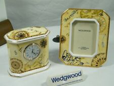 "Wedgwood Bone China ""Atlas"" Mantle Clock matching Picture Frame Splendid !!!."