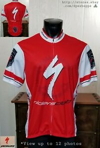 SPECIALIZED -RIDERS CLUB- FULL ZIP RED S/S CYCLING BIKE ADULT JERSEY SZ 2XL