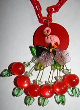 Artist Made Pink Flamingo Bakelite Art Necklace RED Chain & Moonglow Cherry