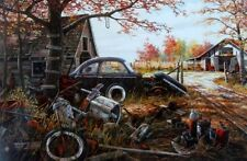 Ken Zylla  Crossroads Motorcycle  Print  12 x 8 Plus Borders