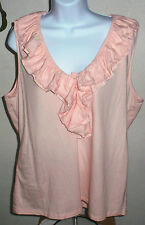 NEW NWOT Ralph Lauren Champagne Pink Ruffled Sleeveless Tank Top/Shell Shirt PM