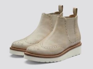 GRENSON UK 7 Alice Rubber Sole Chelsea Natural Leather Brogue Boots 9 NEW