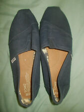 TOMS Mens Dk Blue Canvas Slip On Espadrilles Shoes Hardly Used M11, UK 10, EU44