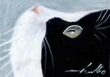 ACEO original pastel drawing tuxedo cat chat katze by Anna Hoff