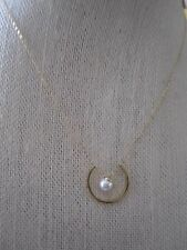 NWT Nadri Gold Tone Pretty Necklace- 3/4 Circle w/ Tiny Simulated Pearl- $45