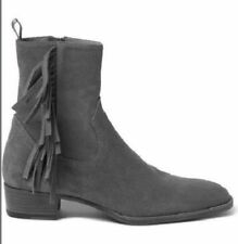 MEN NEW HANDMADE REAL SUEDE LEATHER BOOTS GRAY ANKLE HIGH FRINGED BOOTS