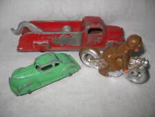 3 Vintage Die Cast Metal Vehicles - Motorcycle, Tootsie Toy Tow Truck & Sedan