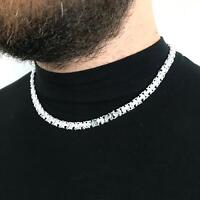 Men Flat Byzantine Chain Necklaces 40GR 20 Inch 7mm 925 Sterling Silver Handmade